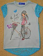 Хлопковые футболочки,рукавчик и на спинке вставка из мягкого стрейч-гипюра.рост 98-140