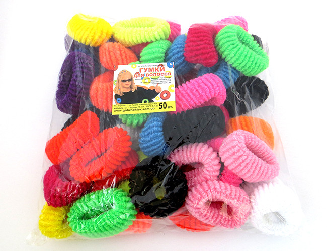 Резинки для волос - Калуш большие (50 шт), цветные