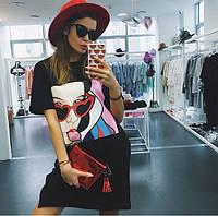 Женское стильное свободное платье с картинкой (2 цвета), фото 1
