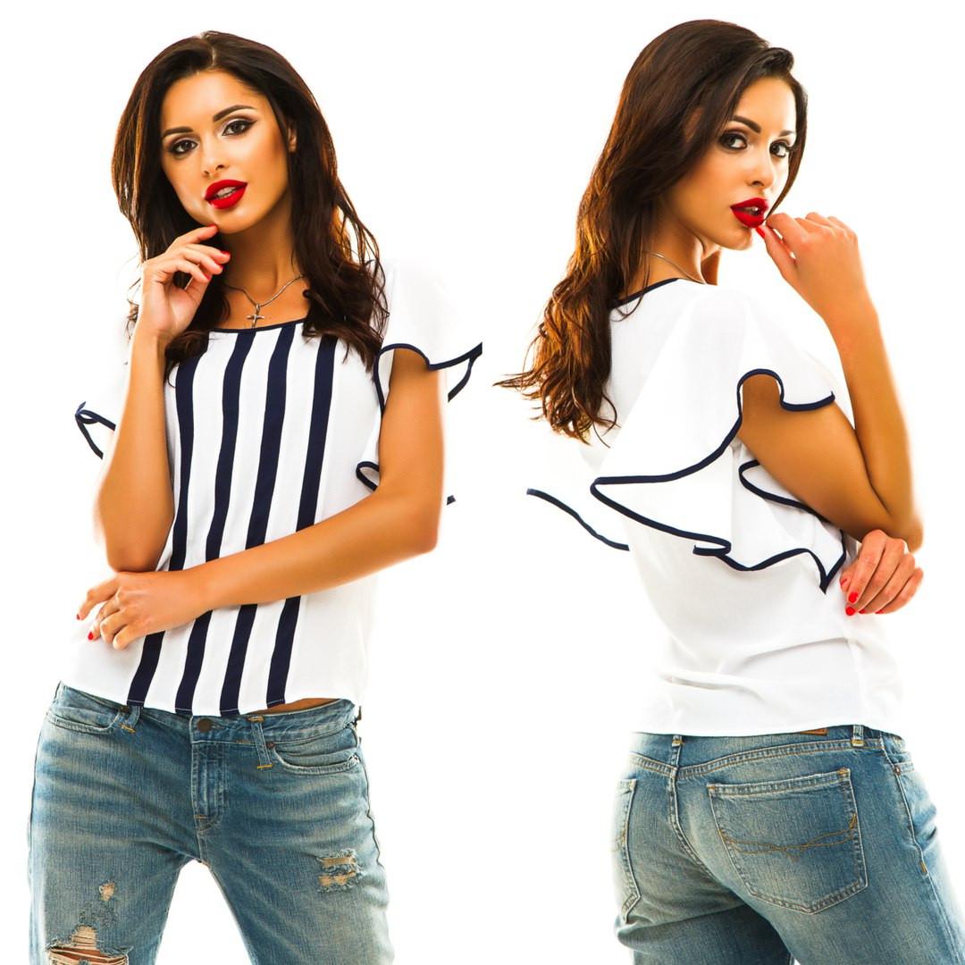2fd768f28968 Красивая женская шифоновая блуза с воланами - Стильная женская одежда  оптом, платья макси и мини