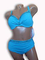 Купальник женский раздельный голубой. OlgaK. Большой размер 33114AС.
