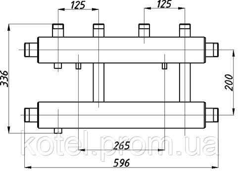 Схема распределительного коллектора Termojet СК 212.125 в изоляции