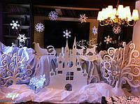 Новогодние декорации, декор, муляжи (снежинки, елки, звезды, ангелочки, надписи)
