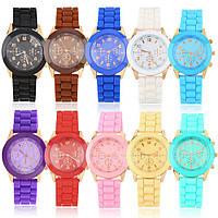 Наручные часы женские Женева большой циферблат силиконовый ремешок