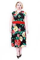Платье Запах разноцветные розы