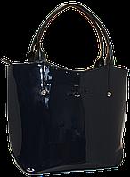 Женская лаковая сумка синего цвета