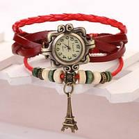 Наручные часы женские Женева кожаный ремешок Эйфелевая башня красные, фото 1