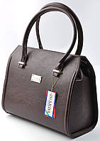 Женская кожаная каркасная сумка коричневого цвета