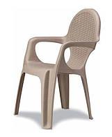 Кресло пластиковое Intreciato серо-бежевое