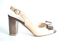 Босоножки женские Canna коричневые из натуральной кожи на каблуке, женские босоножки