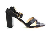 Босоножки женские Canna черные из натуральной кожи на каблуке, женские босоножки