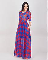Оригинальное длинное шифоновое платье