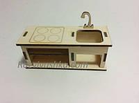 Кукольная мебель Кухонный столик с плитой  и мойкой для кукол, пупсов (под роспись, декупаж), фото 1