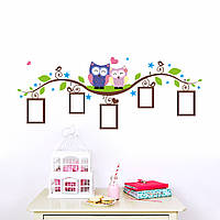 """Виниловая наклейка на стену """"Две совы и рамки для фото"""", фото 1"""