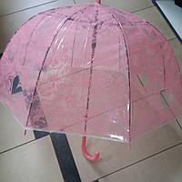 Зонт женский прозрачный цветы малиновый, фото 1