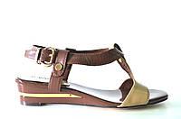 Босоножки женские D.Bigioni коричневые из натуральной кожи без каблука, женские босоножки