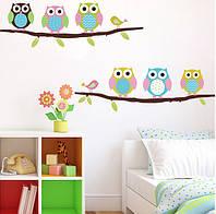 """Вінілова наклейка на стіну """"Сови на дереві 6 шт"""" декор дитячої"""