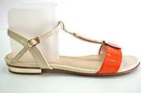 Босоножки женские Toleeao оранжево-бежевые без каблука, женские босоножки