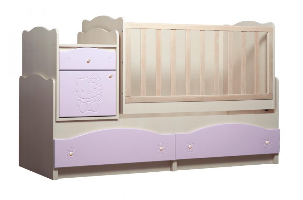 Ліжко трансформер «Kiddy» 5в1 МДФ Венге світлий/Рожевий глянець (ТМ Вальтер)