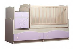 Кровать трансформер «Kiddy» 5в1 МДФ Венге светлый/Розовый глянец (ТМ Вальтер)
