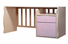 Ліжко трансформер «Kiddy» 5в1 МДФ Венге світлий/Рожевий глянець (ТМ Вальтер), фото 2