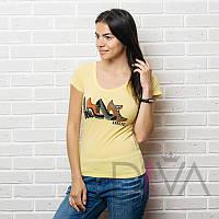 Футболка женская Арт. E13yellow брендовые футболки оптом