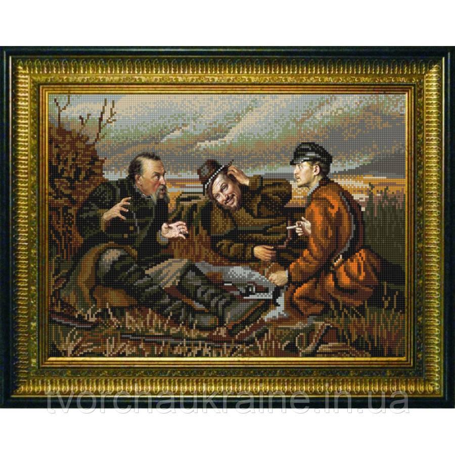 """Схема для вышивки бисером по мотивам картины В. Петров """" Охотники на привале"""""""