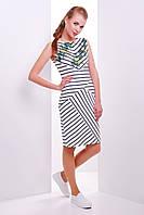 Женское приталенное платье без рукав в полоску