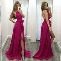 Платье с длинным разрезом и открытой спиной