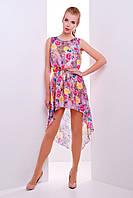 Летнее платье из шифона в цветочек удлиненное сзади