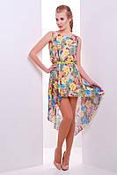 Шифоновое платье на лето длинное сзади с поясом