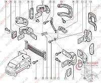 Накладка навеса задней левой двери нижняя (накладка нижней петли, молдинг, крепление, отбойник) Renault Master II (1998-2003) 7700352204