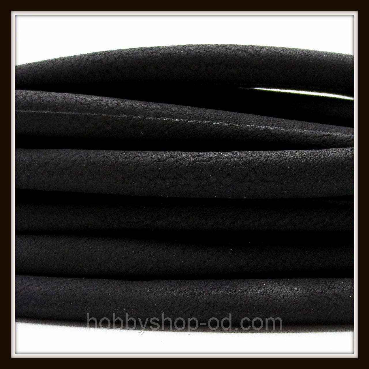 Шнур замшевый диаметр 7 мм, цвет черный (20 см)