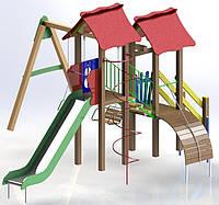 """Детский комплекс Kidigo """"Авалон"""" с металлической горкой высотой  1,5  м"""