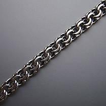 Срібний чоловічий браслет, 220мм, 18 грам, плетіння Бісмарк, фото 3