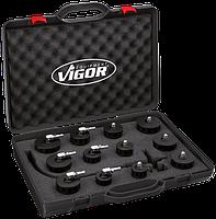 Набор для проверки герметичности системы турбонаддува с click-системой , 12 предметов, VIGOR, V4192