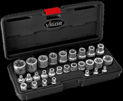 """Универсальный набор головок 1/4"""",3/8"""",1/2""""E-TORX в пластиковом чемодане, 28пр. , VIGOR, V2687, фото 2"""