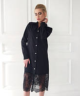 Платье-рубашка с широким кружевом по низу