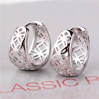 Серьги стерлинговое серебро круглые, фото 1