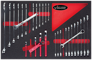 Набор инструментов ключей в ложименте, 30пр., VIGOR, V1747