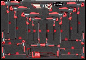 Комплект ключей Torx T9-T40 и HEX 2-10 мм в ложименте, 33пр., VIGOR, V2006