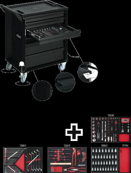 Тележка для инструментов с комплектом Black Edition II 228ед, VIGOR, V2712N