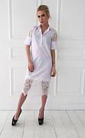 Платье с воротником-поло и гипюровыми вставками
