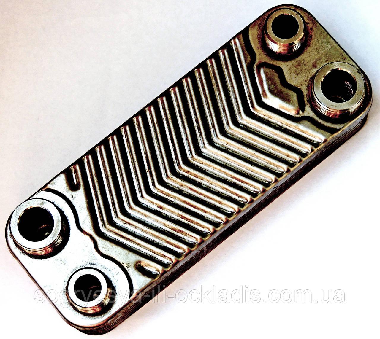 Теплообменник ГВС пластинчатый, 12 пластин, соединение - резьбовое, L=148 мм, код сайта 4096