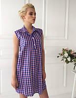 Льняное платье в клетку с рубашечным воротником