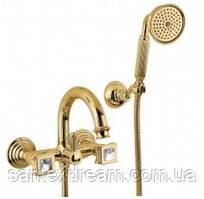 Смеситель для ванны и душа Bugnatese Olympia со Сваровски, золото (DAFDO8402K)