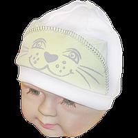 Детская трикотажная шапочка с подкладкой (интерлок) без завязок, ТМ Мамина мода, р. 42
