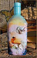 """Подарочное оформление бутылки """"Чарующий закат"""", подарки в морском стиле, морской сувенир"""