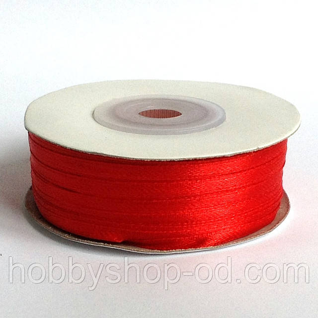 Лента атласная 0,3 см  красная 92м