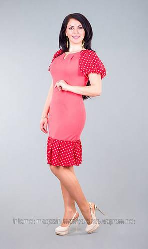 Платье женское полубатал низ шифон в горошек